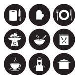Ícones do cozimento e da cozinha Foto de Stock