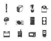 Ícones do cozinha da silhueta e os home do equipamento Fotos de Stock Royalty Free