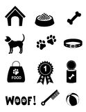 Ícones do cuidado do cão Imagem de Stock