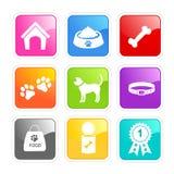 Ícones do cuidado do cão Imagem de Stock Royalty Free