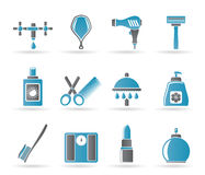 Ícones do cuidado pessoal e dos cosméticos Fotos de Stock Royalty Free