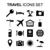 Ícones do curso ajustados e símbolos do turismo Ilustração do vetor Fotos de Stock