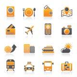 Ícones do curso, do transporte e das férias Imagem de Stock