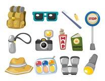 Ícones do curso dos desenhos animados ajustados Imagens de Stock Royalty Free