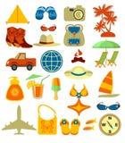 Ícones do curso e da praia ilustração royalty free