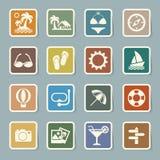 Ícones do curso e das férias ajustados Imagem de Stock
