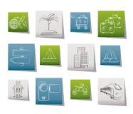 Ícones do curso e do transporte do feriado Imagens de Stock Royalty Free
