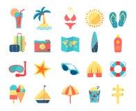 Ícones do curso e do turismo ajustados Fotografia de Stock Royalty Free