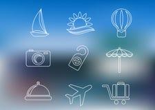 Ícones do curso e do turismo do estilo do esboço Fotografia de Stock