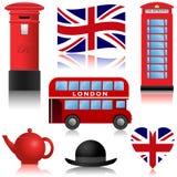 Ícones do curso - Londres e Reino Unido ilustração stock