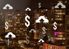 Ícones do dólar e da transferência de arquivo pela rede na cidade Imagem de Stock