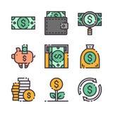 9 ícones do dólar do vetor ajustados O vetor colore ícones fotografia de stock