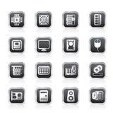 Ícones do desempenho e do equipamento de computador Fotografia de Stock