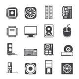 Ícones do desempenho e do equipamento de computador da silhueta Imagens de Stock Royalty Free
