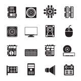 Ícones do desempenho e do equipamento de computador da silhueta Fotografia de Stock