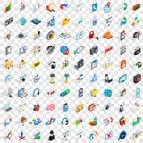 100 ícones do desenvolvimento da Web ajustaram-se, o estilo 3d isométrico Imagens de Stock Royalty Free