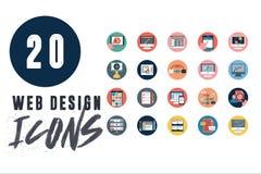 20 ícones do design web ajustados ilustração stock