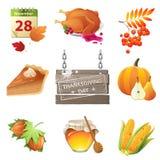 Ícones do dia da ação de graças Imagens de Stock Royalty Free