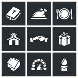 Ícones do dia da ação de graças ajustados Ilustração do vetor Imagens de Stock