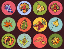 Ícones do dia da ação de graças no esboço da cor do estilo Fotografia de Stock