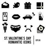 Ícones do dia do ` s do Valentim do St Grupo de romântico, símbolos dos feriados do amor Silhuetas pretas imprimíveis Imagens de Stock