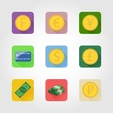 Ícones do dinheiro Imagens de Stock Royalty Free