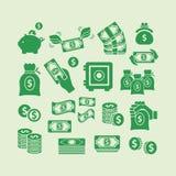 Ícones do dinheiro Foto de Stock