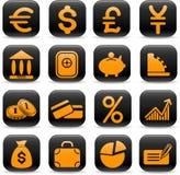 Ícones do dinheiro Fotografia de Stock