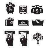 Ícones do dinheiro ajustados Imagens de Stock