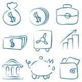 Ícones do dinheiro do esboço do vetor Foto de Stock