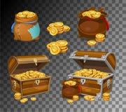 Ícones do dinheiro dos desenhos animados 3d do casino e do jogo Moedas de ouro em uns moneybags ilustração stock