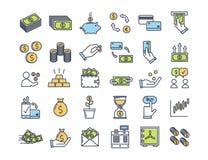 Ícones do dinheiro e da finança Vector pictograma finos do esboço com a cor lisa relativa com pagamento, finanças e economia ilustração do vetor