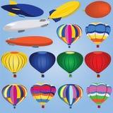 Ícones do dirigível e do balão Imagens de Stock Royalty Free