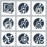 Ícones do disco compacto do vetor ajustados Fotos de Stock Royalty Free