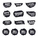Ícones do disconto da venda Sinais do preço de oferta especial Foto de Stock Royalty Free