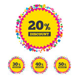 Ícones do disconto da venda Sinais do preço de oferta especial Imagens de Stock