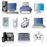Ícones do dispositivo da tecnologia Fotografia de Stock Royalty Free