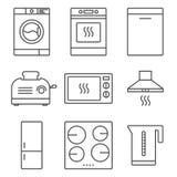 Ícones do dispositivo de cozinha Fotografia de Stock