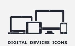 Ícones do dispositivo: telefone, tabuleta, portátil e computador de secretária espertos Design web responsivo ilustração stock