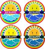 Ícones do divertimento com sol e arco-íris Fotografia de Stock