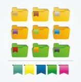 Ícones do dobrador com fita Imagens de Stock