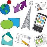 Ícones do Doodle de uma comunicação Imagens de Stock