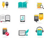ícones do E-livro, do audiobook e da literatura - 1 ilustração stock