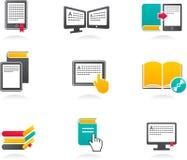 ícones do E-livro, do audiobook e da literatura - 2 ilustração royalty free