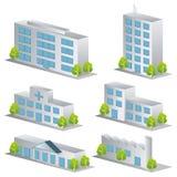 ícones do edifício 3d ajustados Imagens de Stock Royalty Free