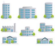 Ícones do edifício ajustados Imagens de Stock