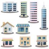 Ícones do edifício ajustados ilustração do vetor