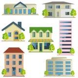 Ícones do edifício ajustados ilustração stock