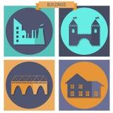 Ícones do edifício ajustados Imagem de Stock