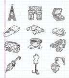 Ícones do elemento de Paris da garatuja Fotografia de Stock